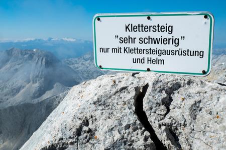Klettersteig Germany : Klettersteig via ferrata sign in german stock photo picture and