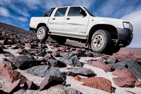 toyota: Off-road 4WD car driving on rough terrain