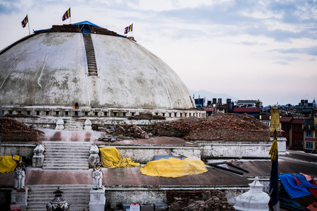 bodnath: Boudhanath Stupa in Kathmandu, Nepal severely damaged after earthquake