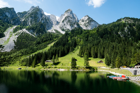 landscape nature: Mountain lake Gosausee in the Austrian Alps