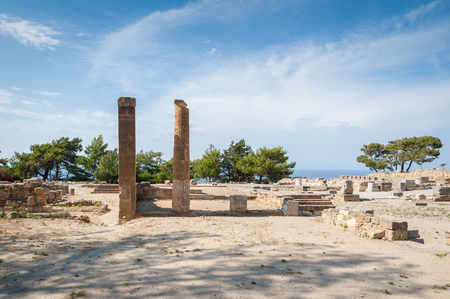 Remains of Ancient Town of Kamiros, Hellenistic City mentioned by Homer, Greek Island of Rhodes. Greece. Europe. Stock Photo