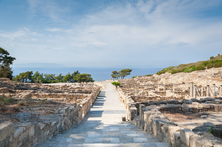 Remains of Ancient Town of Kamiros, Hellenistic City mentioned by Homer, Greek Island of Rhodes. Greece. Europe. 免版税图像