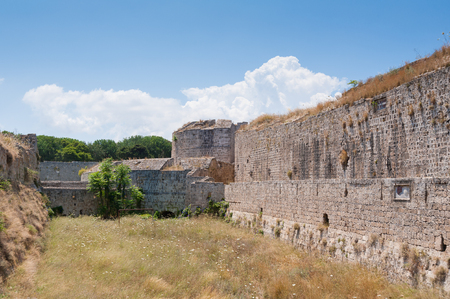 Medieval city wall in Rhodes, Old Town, Island of Rhodes, Greece, Europe.