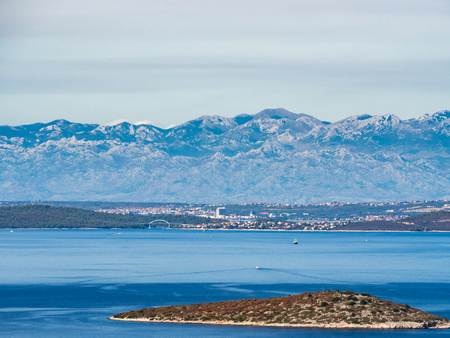 Croatia seaside, Velebit Mountie range view from the sea islands Stock Photo