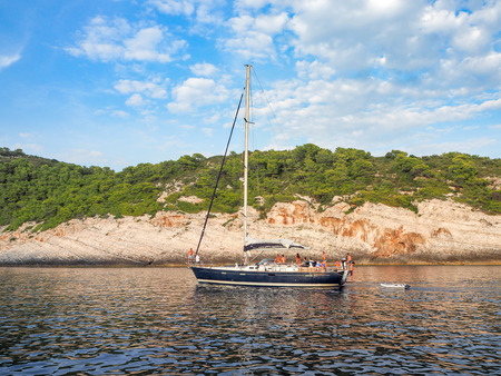 greece shoreline: Anchoring Yachts and Croatian Landscape