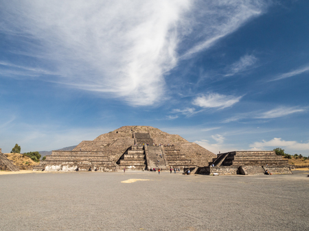 Teotihuacan, Mexico City, Mexico, South America - Janunary 2018 [The Great Pyramid of Sun and Moon, views on ancient city ruins of Teotihuacan pyramids valey, The Road of Dead] Stock Photo