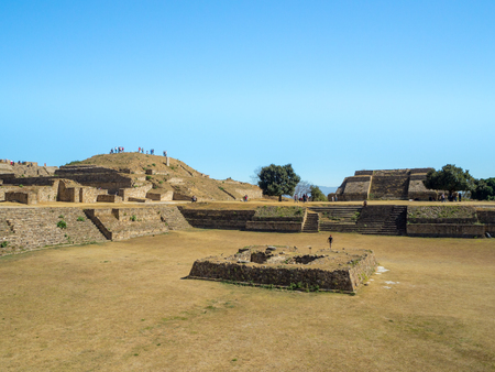 Monte Alban, Oaxaca, Mexico, South America - January 2018: [Biggest ruins of ancient Zapotec city at the top of the mountain, UNESCO archeological site, pyramids]