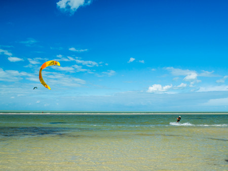 Holbox, Mexico, South America : [Tropical relaxation in Holbox island, tourist destination, kitesurfing in the Carribean gulf, sea]