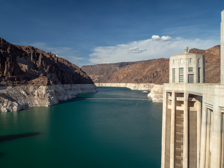 Las Vegas, Hoover Dam, Nevada, USA - Summer 2018 : [ Hoover Dam and Lake Meeads on Colorado River in Nevada Desert ] Editorial