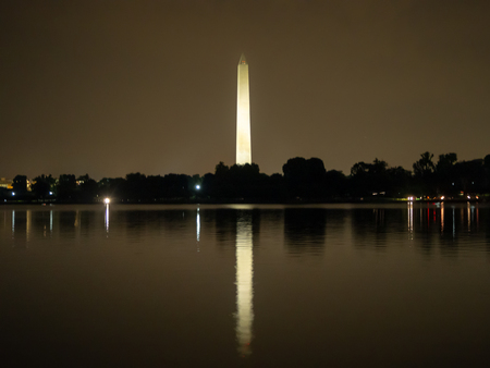 washington DC, District of Columbia, Summer 2018 [United States US, obelisk on the National Mall in the capital, Reflecting pool, falling dusk dark cloudy sky, reflection] Stock Photo