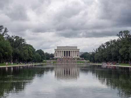 Washington DC, District of Columbia, Summer 2018 [United States US, Lincoln Memorial over Reflection pool, interior and exterior, national mall, tourist visitors] Stock Photo