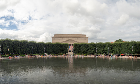 Washington DC, District of Columbia, Summer 2018 [United States US, National Archives Museum view from the Art sculpture garden fountain] Stock Photo