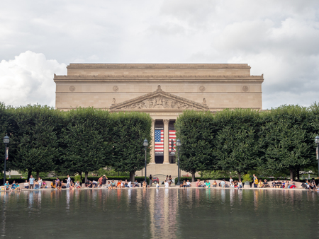 Washington DC, District of Columbia, Summer 2018 [United States US, National Archives Museum view from the Art sculpture garden fountain] Editorial
