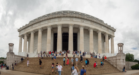 Washington DC, District of Columbia, Summer 2018 [United States US, Lincoln Memorial over Reflection pool, interior and exterior, national mall, tourist visitors] Editorial