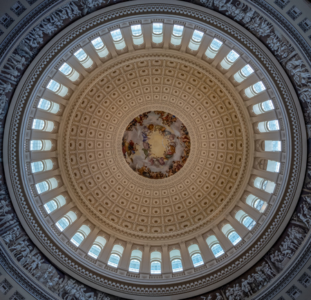 Washington DC, District of Columbia, Summer 2018 [United States Capitol interior, federal district, tourist visitor center, rotunda with fresco by Constantino Brumidi National Statuary Hall Collection] Editorial