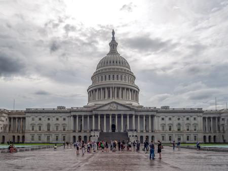 Washington DC, District of Columbia, Summer 2018 [United States US Capitol Building, shady cloudy weather before raining, faling dusk, ]