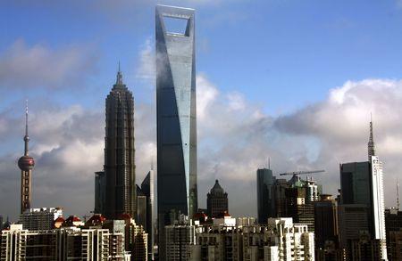 금융 센터의 중심부에있는 상하이의 가장 높은 건물 에디토리얼