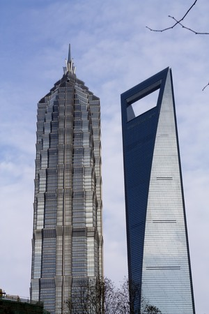 newest: Shanghai architecture Jinmao tower and newest high rise Stock Photo