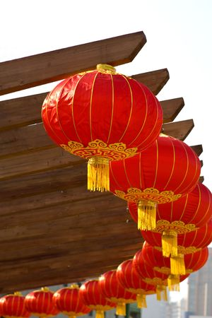 newyear: Chinese lanterns in circle as decorations for the Chinese New Year in Beijing China Stock Photo