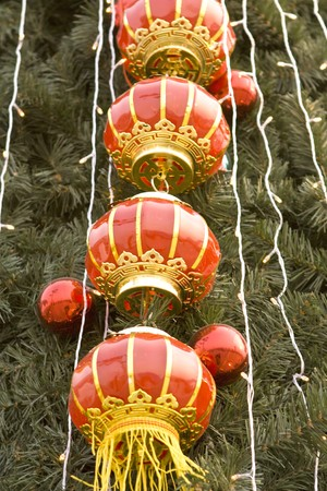 newyear: Chinese New Year  lantern decorations on a tree in Beiling China
