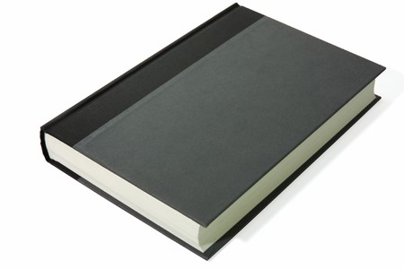 hardback book laying on a white background