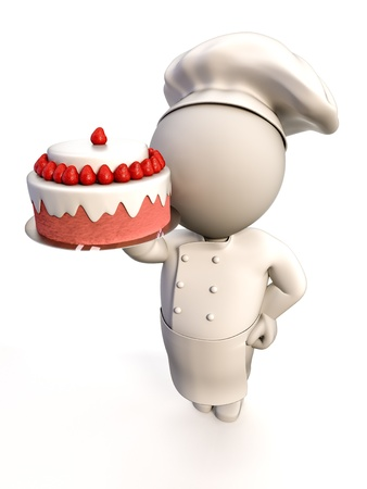 baker: A baker proudly showing a strawberry shortcake Stock Photo