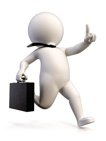 llegar tarde: Un hombre de negocios con prisa para llegar al trabajo, con un malet�n