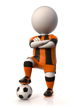 tridimensional: A soccer player stepping on a ball with arms crossed Stock Photo