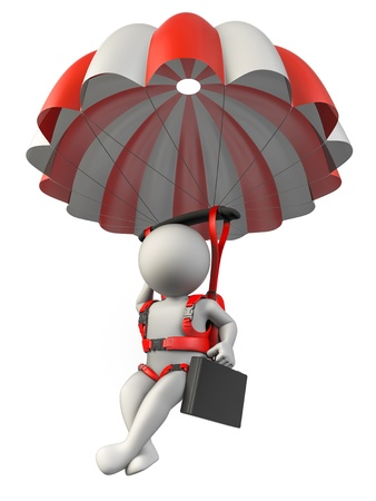 A businessman with a parachute falling safety
