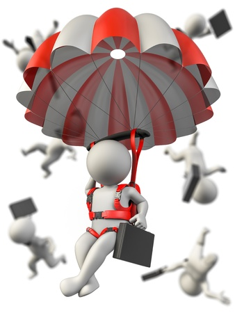 parachutist: A businessman with a parachute falling safety  Several businessman in background falling without control Stock Photo