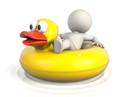 float: A person lying on a donut pool float, enjoying his holidays on the water