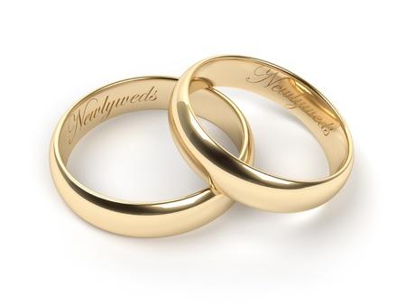 wedding  ring: Anillos de bodas del oro grabadas con los recién casados ??texto