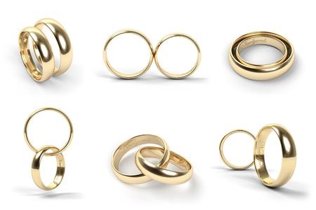 wedding  ring: Juego de anillos de boda de oro grabadas con los recién casados ??texto Foto de archivo