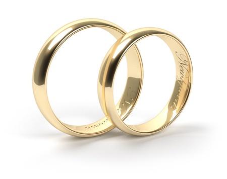 wedding bands: Anillos de bodas del oro grabadas con los reci�n casados ??texto