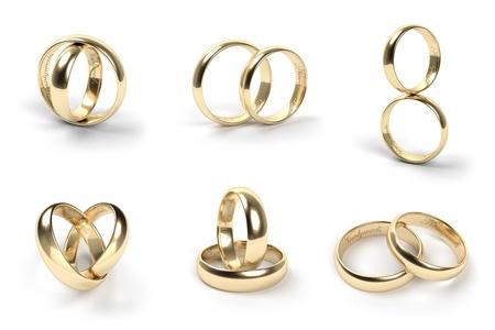 anillos de boda: Juego de anillos de boda de oro grabadas con los recién casados ??texto Foto de archivo