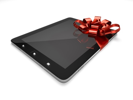 A tablet wrapped with a bow and ribbon photo