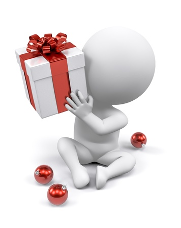and guessing: A person wondering whats inside a Christmas gift Stock Photo
