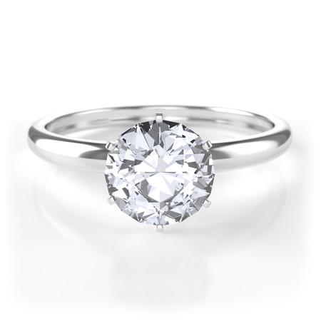 Silver ring with diamond Archivio Fotografico