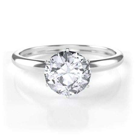 Silver ring with diamond Stock Photo