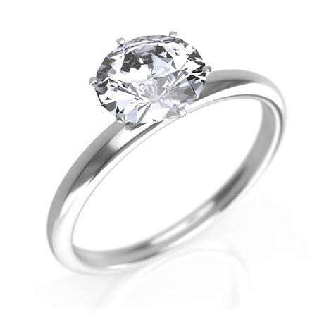 Silver ring with diamond 写真素材