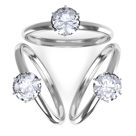 silver ring: Composition of three diamond rings