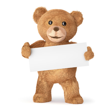 top animated: Teddy with empty card Stock Photo