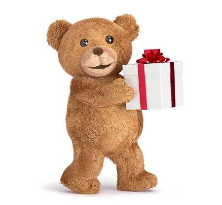 top animated: Teddy bear with a gift box Stock Photo