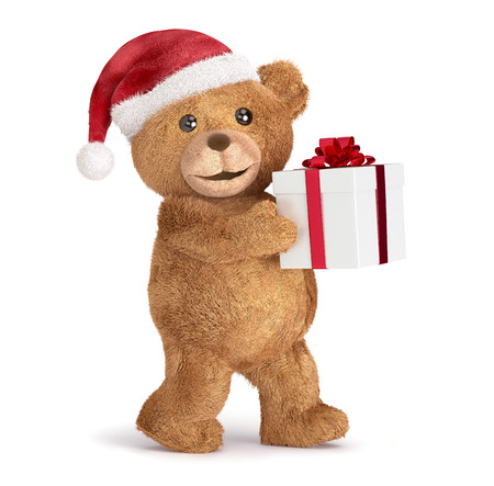 top animated: Teddy with a Christmas