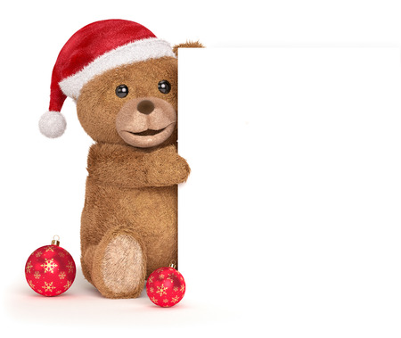 top animated: Teddy bear with a christmas panel Stock Photo