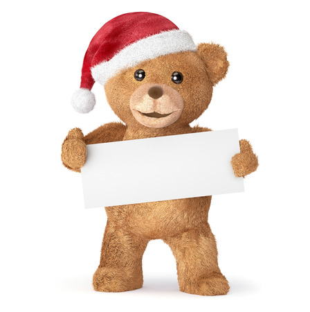 top animated: Teddy bear with empty card Stock Photo