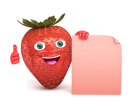 advertize: strawberry with a sign