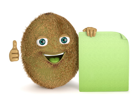 advertize: with a sign kiwi Stock Photo
