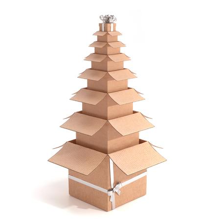 Boxes shaped like a Christmas tree