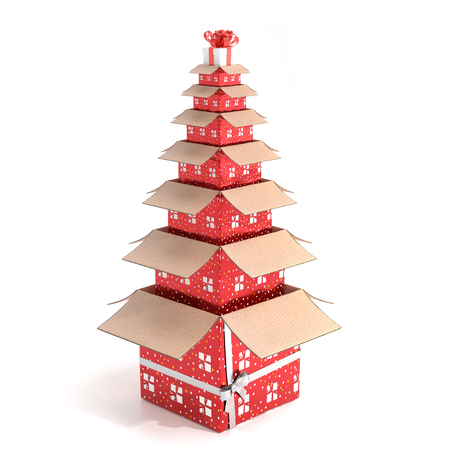 Gifts shaped like a Christmas tree